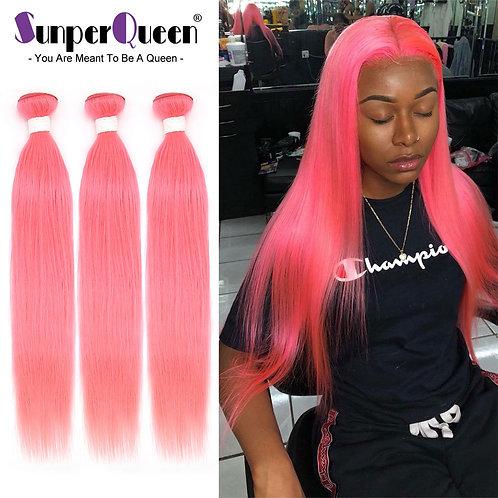 Pink Straight Hair Weave Bundles 100% Brazilian Human Hair Extensions 3/4pcs