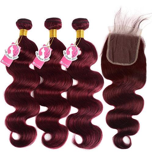 AliPearl 99J Bundles With Closure Brazilian Hair Weave Bundles Burgundy Body Wa