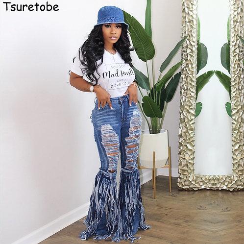 Tsuretobe Ripped Jeans for Women Tassel Patchwork Flare Jeans Fringe High Waist