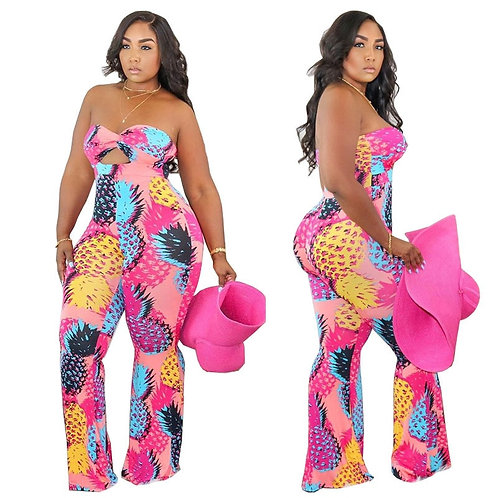 Plus Size 5xl Jumpsuit Women Summer Wholesale Pink Print Off Shoulder Flared Bod