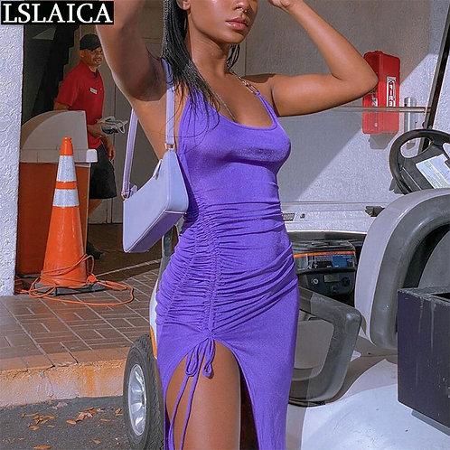 Drawstring Dress Sleeveless Draped Skinny Sexy & Club Dresses Solid Color Backl