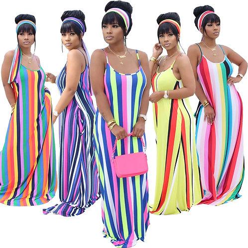 Women Casual Loose Stripe Printed Long Dress Summer Women Sexy Beach-Style Sling