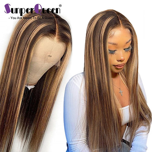 #4/27 Ombre Lace Front Human Hair Wigs for Women Highlight Transparent Lace Wigs