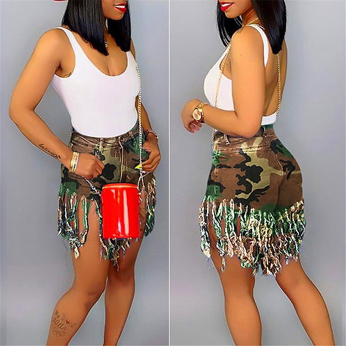 Plus Size S-3xl Tassel Casual Denim Shorts Women Elastic High Waist Short Jeans