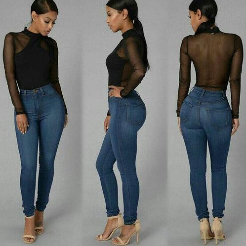 2020 Spring Slim Elasticity Skinny Jeans Women Europe High Waist Push Up Pencil