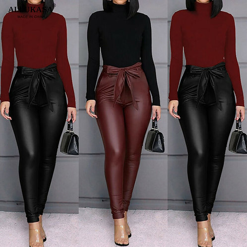 2020 Tops Belt High Waist Pencil Pant Women Faux Leather PU Sashes Long Trousers