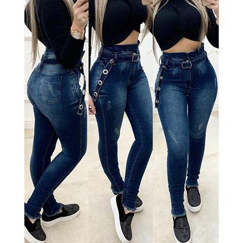 Women High Waisted Jeans Woman Skinny Washed Denim Pants Streetwear Sexy Female