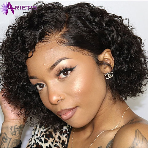 Curly Human Hair Wig Short Bob Lace Front Human Hair Wigs for Black Women Pre-P