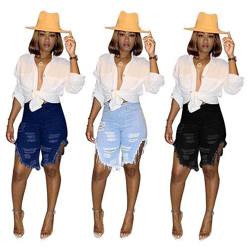 Tassel Jean Shorts Women Summer Sexy Hollow Out Short Hole Classic Denim Jeans H