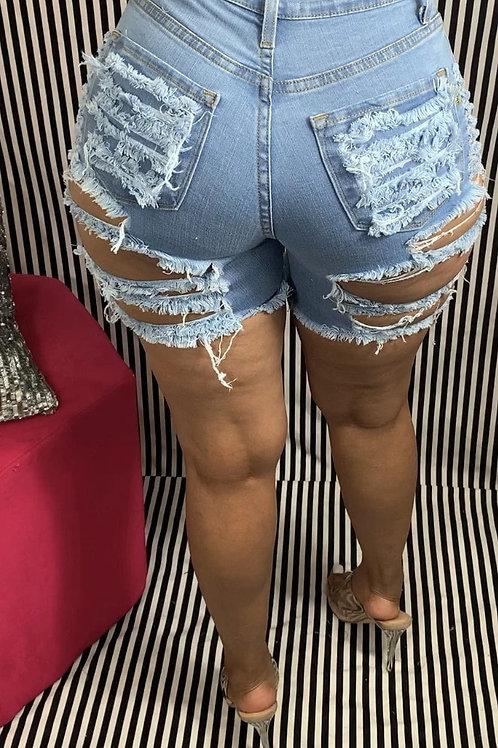 Hot Sale High Waist Ripped Denim Shorts for Women Fashion Sexy Stretch Shorts