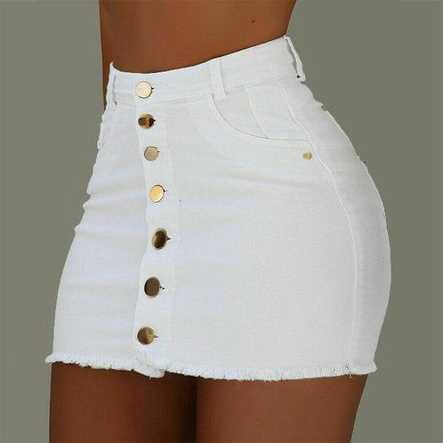 2020 Summer Womens Ladies A-Line Jeans Short Skirt Button High Waist Denim Pocke