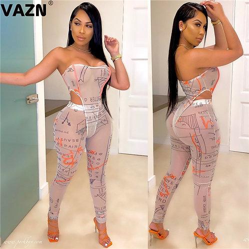 VAZN 2020 Letter Print Regular Sexy Fresh Clear Upsurge Rompers Womens Jumpsuit
