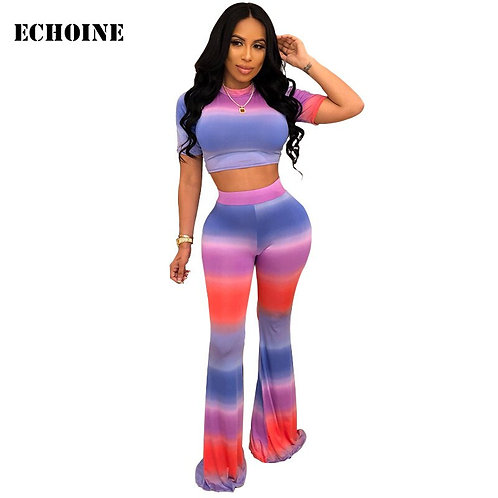 Striped Print 2 Piece Rainbow Outfit Crop Top and Pants Slim Bodycon Women Pants