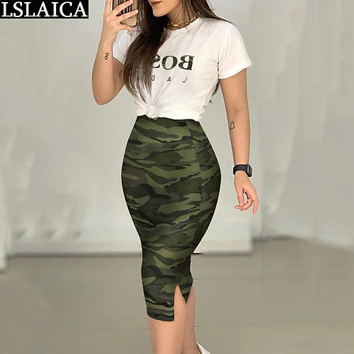Set Women  White Letter T Shirt&Camouflage Skirt Summer 2 Piece Set Casual Party