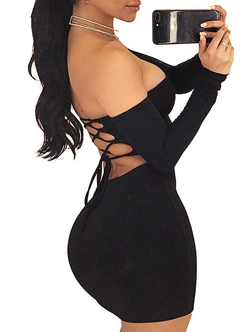 Autumn Winter Long Sleeve Dress Women's Sexy Off Shoulder Backless Lace Up Club