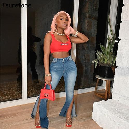 Tsuretobe Vintage Y2k Jeans Women High Split Flare Jeans High Waist Mom Jeans