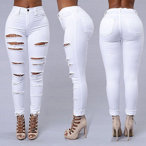 Ripped Jeans Women's High-Waisted Jeans Retro Bell-Bottomed Jeans Ripped Skin