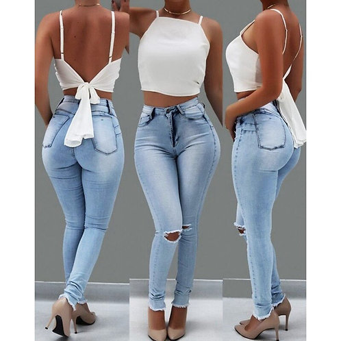 Skinny Pencil Pants Jeans for Women High Waist Ripped Holes Denim Trousers Women