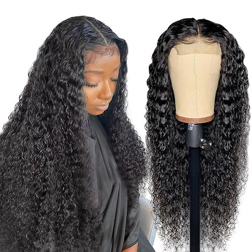 Brazilian 4*4 Deep Wave Lace Closure Wig Lace Front Human Hair Wigs Pre-Plucked