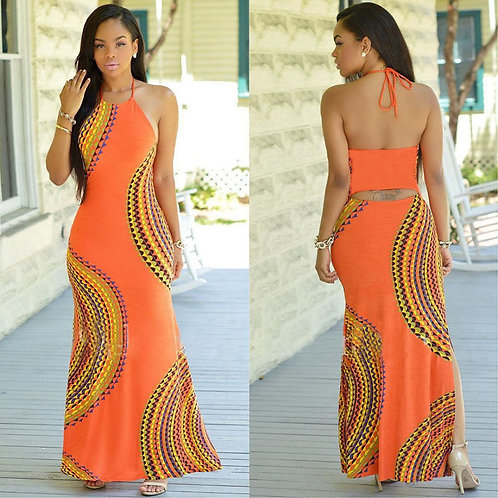 New Fashion Women Halter Dress Sleeveless Female Party Dress Ladies Printing