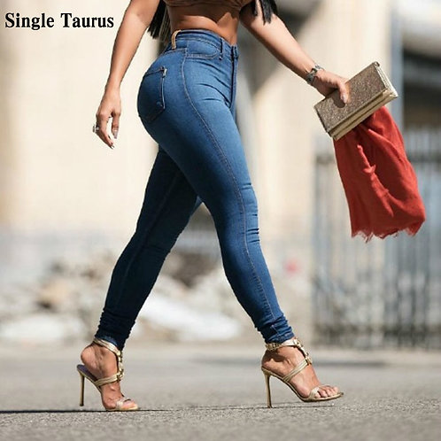2020 Spring Slim Elasticity Skinny Jeans Women Europe High Waist Push Up Pencil