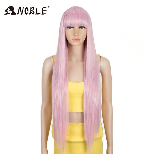 Noble Pink Wig With Bangs Synthetic Wig With Bangs Long Straight Ombre Wig Color