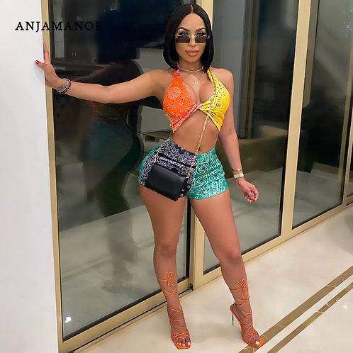 ANJAMANOR Colorblock Bandana Crop Top Shorts 2 Piece Matching Sets Womens