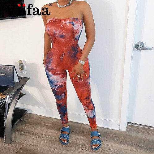 Viifaa Strapless Sexy Tie Dye Bodycon Jumpsuit Women Summer 2020 Party Club Out
