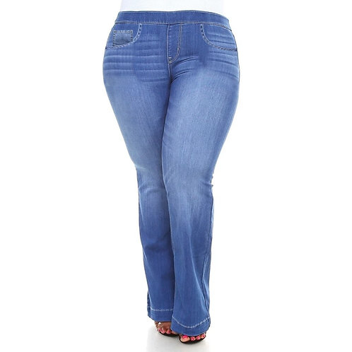 2020 Summer Women Plus Size Elastic Waist Jeans Ladies Fashion Stretch Casua