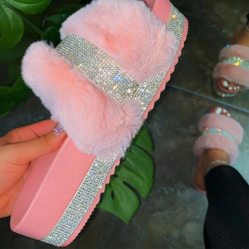 Women Fur Platform Slippers Summer Furry Slides Female Fluffy  Shoes Women's