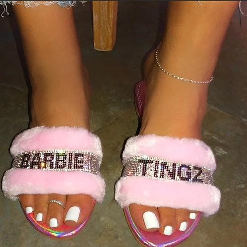 Women Slippers Plush Furry Flat Shoes Woman Faux Fur Slides Ladies Fluffy Sandal