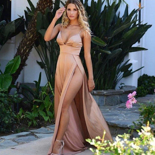 Women Party Dresses Pink Sleeves Tops Dress Evening Party Dress Backless Deep V