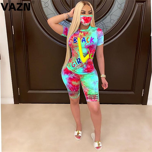 VAZN 2020 With Mask Running Fitness Outfit Active Tracksuit Casual Women Short S