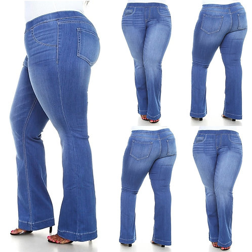 2020 Summer Plus Size Elastic Waist Jeans for Women Stretch Casual Mom Jean