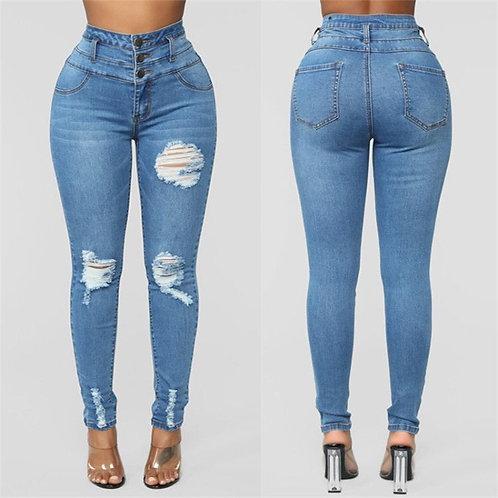 Brand New Womens Juniors Ripped High Waist Long Pants Jeans Butt Lift 3 Button S