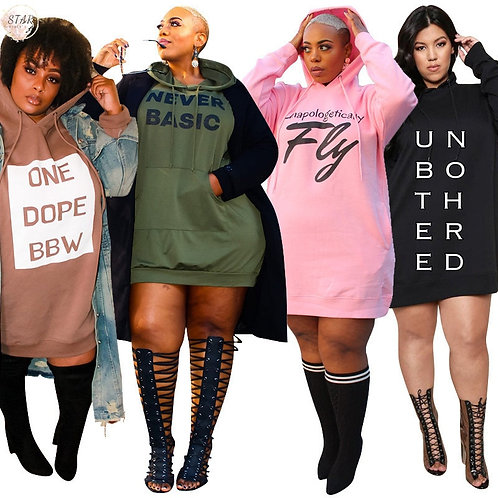 Plus Size Dresses for Women  2021 Letter Print Hoodie Casual Loose Mini Dress