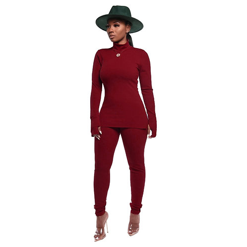 Winter 2 Pieces Set for Women SexyTurtleneck Autumn Fall Clothes Outfits Two