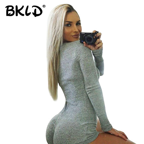 BKLD Rompers Women Jumpsuit 2020 Autumn Ladies Sexy Long Sleeve Bodysuit V-Neck