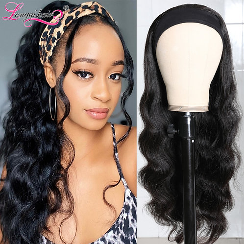 Body Wave Wig Human Hair Headband Wig Scarf Wig Natural Color Brazilian Remy