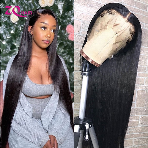 Transparent 13x4 Lace Front Human Hair Wigs Remy Brazilian Straight Wig for