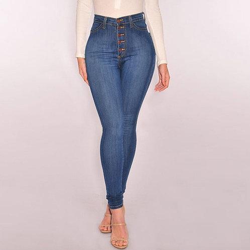 2019Women High Waisted Skinny Denim Jeans Stretch Slim Pants Calf Length Jeans