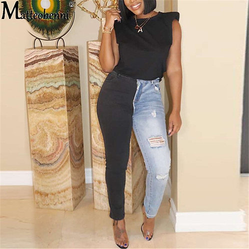Women's Patchwork Denim Pants Retro Casual Sexy Jeans Ripped Pencil Pants Street