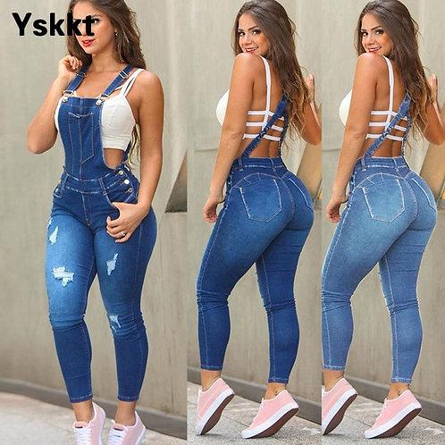 Denim Overalls Women Fashion Slim Jumpsuit Jeans Bib Full Length Skinny Casual