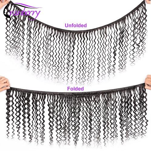CRANBERRY Hair Deep Wave Human Hair Bundles With Closure 4 Pcs/Lot Brazilian