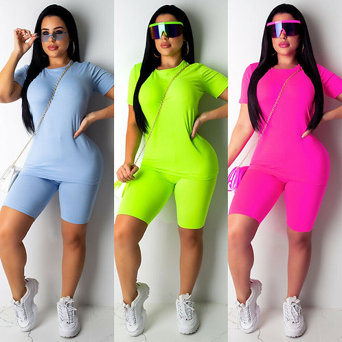 4 Colors Brand New Women Casual Solid Color Sports Suit Female Crop Top Shorts