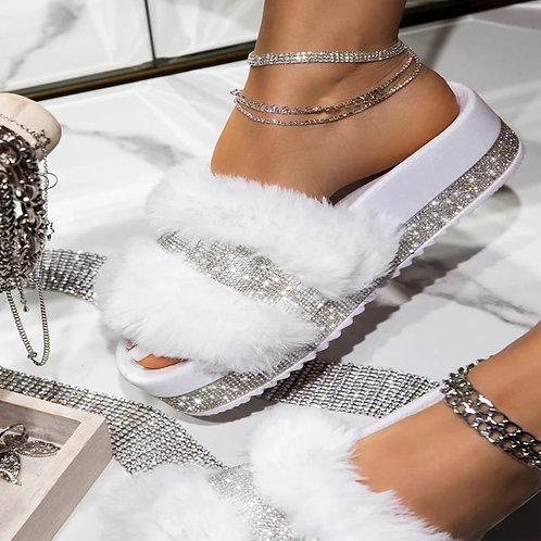 2020 Slides for Women Fur Slides Home Flat Fur Slippers Women Shoes Summer Big