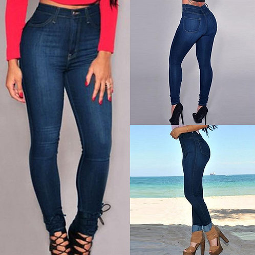2020 Jeans Woman High Waist Jeans Slim Solid Pockets Ladies Jeans Denim Jean