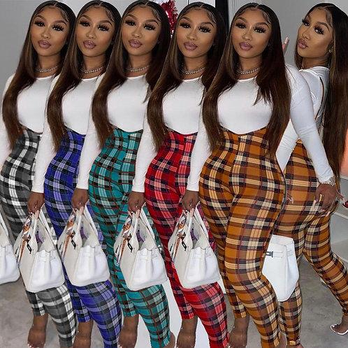 Plaid Women 2 Piece Suit Fitness Women Basic Top Plaid Sweatpants High Wait Jo