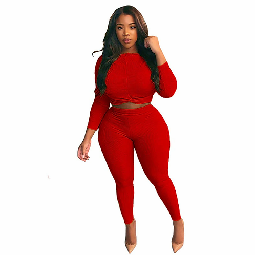 Casual Ribbed 2 Piece Set Women's Tracksuit Long Sleeve Oversized Top and Skinny