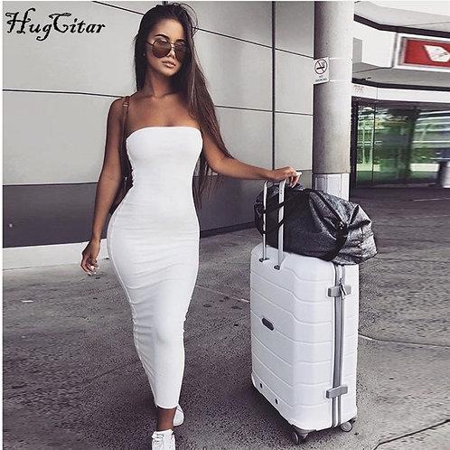 Hugcitar 2020 Bodycon Sexy Tube Maxi Dress Summer Women Fashion Streetwear